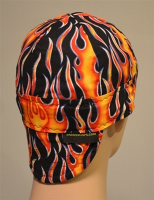 Cool Welding Hat With Orange And Red Flames